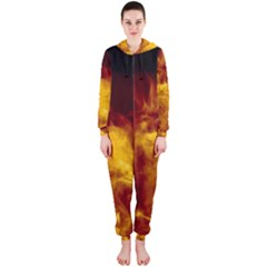 Ablaze Abstract Afire Aflame Blaze Hooded Jumpsuit (ladies)