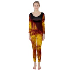 Ablaze Abstract Afire Aflame Blaze Long Sleeve Catsuit