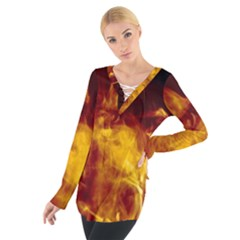 Ablaze Abstract Afire Aflame Blaze Women s Tie Up Tee
