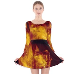 Ablaze Abstract Afire Aflame Blaze Long Sleeve Velvet Skater Dress