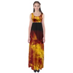 Ablaze Abstract Afire Aflame Blaze Empire Waist Maxi Dress