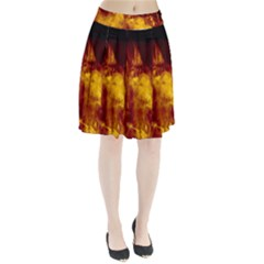 Ablaze Abstract Afire Aflame Blaze Pleated Skirt