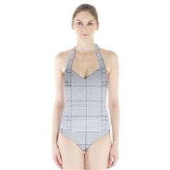 Abstract Architecture Contemporary Halter Swimsuit
