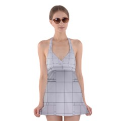Abstract Architecture Contemporary Halter Swimsuit Dress