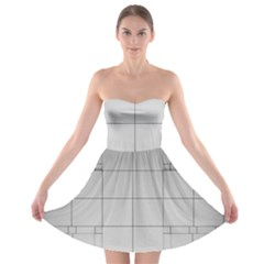 Abstract Architecture Contemporary Strapless Bra Top Dress
