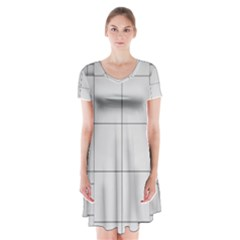 Abstract Architecture Contemporary Short Sleeve V Neck Flare Dress