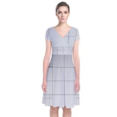 Abstract Architecture Contemporary Short Sleeve Front Wrap Dress