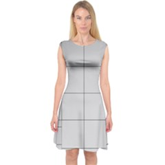 Abstract Architecture Contemporary Capsleeve Midi Dress