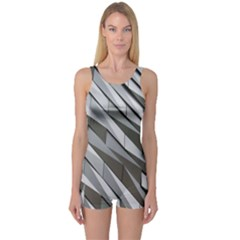 Abstract Background Geometry Block One Piece Boyleg Swimsuit