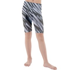Abstract Background Geometry Block Kids  Mid Length Swim Shorts