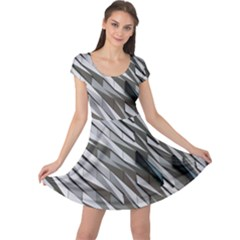 Abstract Background Geometry Block Cap Sleeve Dresses