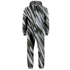 Abstract Background Geometry Block Hooded Jumpsuit (men)