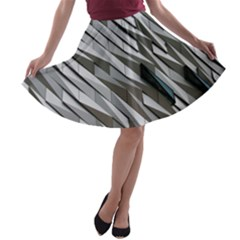 Abstract Background Geometry Block A Line Skater Skirt
