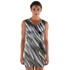 Abstract Background Geometry Block Wrap Front Bodycon Dress