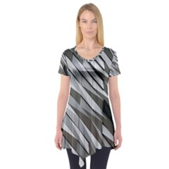 Abstract Background Geometry Block Short Sleeve Tunic