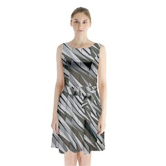 Abstract Background Geometry Block Sleeveless Chiffon Waist Tie Dress