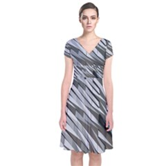 Abstract Background Geometry Block Short Sleeve Front Wrap Dress