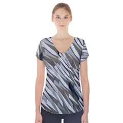 Abstract Background Geometry Block Short Sleeve Front Detail Top