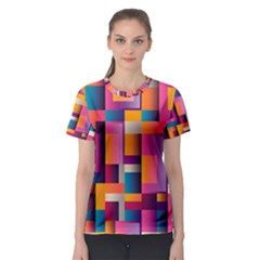 Abstract Background Geometry Blocks Women s Sport Mesh Tee