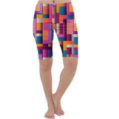 Abstract Background Geometry Blocks Cropped Leggings