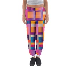 Abstract Background Geometry Blocks Women s Jogger Sweatpants