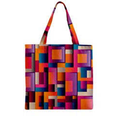 Abstract Background Geometry Blocks Zipper Grocery Tote Bag