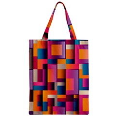 Abstract Background Geometry Blocks Zipper Classic Tote Bag