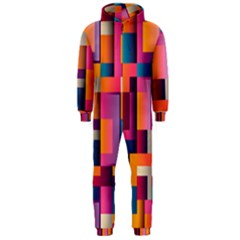 Abstract Background Geometry Blocks Hooded Jumpsuit (men)