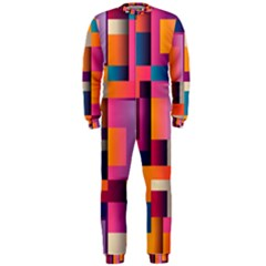 Abstract Background Geometry Blocks Onepiece Jumpsuit (men)