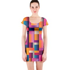 Abstract Background Geometry Blocks Short Sleeve Bodycon Dress