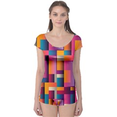 Abstract Background Geometry Blocks Boyleg Leotard