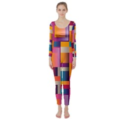 Abstract Background Geometry Blocks Long Sleeve Catsuit