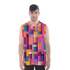 Abstract Background Geometry Blocks Men s Basketball Tank Top