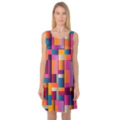 Abstract Background Geometry Blocks Sleeveless Satin Nightdress
