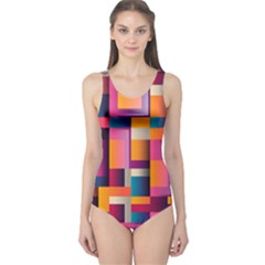 Abstract Background Geometry Blocks One Piece Swimsuit