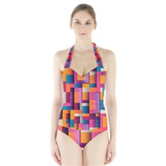 Abstract Background Geometry Blocks Halter Swimsuit