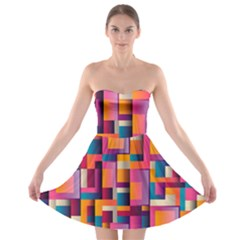 Abstract Background Geometry Blocks Strapless Bra Top Dress
