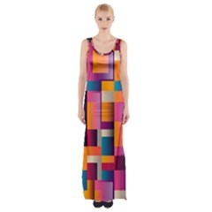 Abstract Background Geometry Blocks Maxi Thigh Split Dress