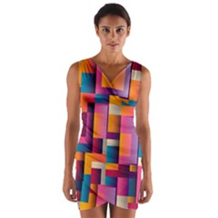 Abstract Background Geometry Blocks Wrap Front Bodycon Dress