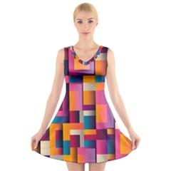 Abstract Background Geometry Blocks V Neck Sleeveless Skater Dress