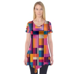 Abstract Background Geometry Blocks Short Sleeve Tunic