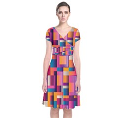 Abstract Background Geometry Blocks Short Sleeve Front Wrap Dress