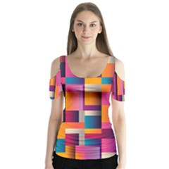 Abstract Background Geometry Blocks Butterfly Sleeve Cutout Tee