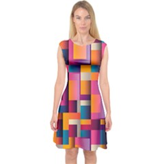 Abstract Background Geometry Blocks Capsleeve Midi Dress