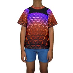Abstract Ball Colorful Colors Kids  Short Sleeve Swimwear