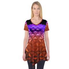 Abstract Ball Colorful Colors Short Sleeve Tunic