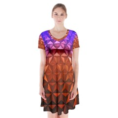 Abstract Ball Colorful Colors Short Sleeve V Neck Flare Dress