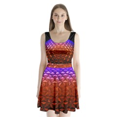 Abstract Ball Colorful Colors Split Back Mini Dress