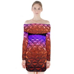 Abstract Ball Colorful Colors Long Sleeve Off Shoulder Dress
