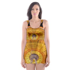 Abstract Blur Bright Circular Skater Dress Swimsuit